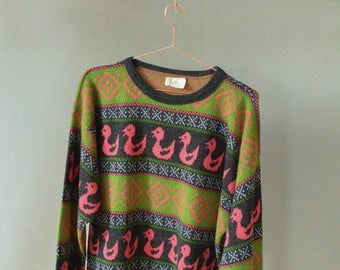 SALE Duck sweater Knitted Chunky Sweater Vintage 90's animal print sweater