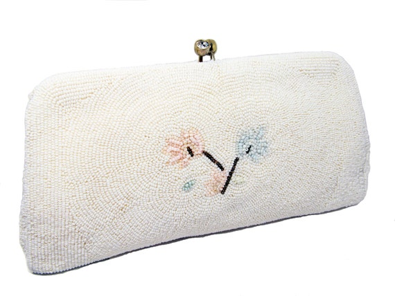 Vintage Beaded Bridal Clutch in White with Pastel Flowers - Schuldkraut BROS., Formal Purse - CLOSING Sale
