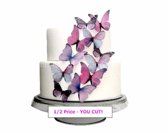 Edible Butterflies - 1/2 Price YOU CUT! 12 Large Prettiest Purple - Cupcakes, Cake Decorations, Toppers