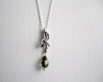 Twig Necklace with Prehnite, Branch Silver Necklace, Twig Necklace-style6