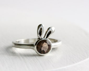 Brown Bunny Ring,Smoky Quartz and Sterling Silver Ring,Rabit Fine Jewelry, MADE TO ORDER