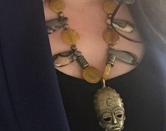 Bronze African Mask Pendant on Necklace of Citrine Coins and Brown Septarian Stones