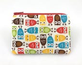 Small Zipper Pouch, Owl Coin Purse, Mini Wallet, Gift for her, Gift idea, Card Pouch, Padded Pouch, Change Purse