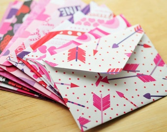 Valentine's Day Mini Cards // Set of 10 // Blank Cards // Gift Card Envelopes // Journal Card // Valentine's Day // Love Note