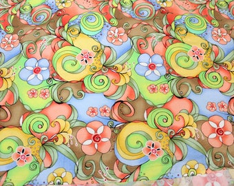 Retro Flower Power Fabric by Blank Quilting circa 2008 . Out of Print Material . Swirls Design . Fat Quarter Yard Half . Green Pink Modern