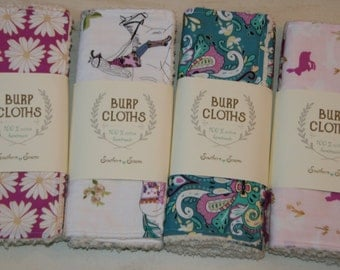 Baby Burp Cloths Cotton Chenille Burp Boho Damask Bunnies in Teal and Purple Baby Shower Gift