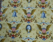 """RESERVED LAURA Vintage 1776 Bicentennial  5.5 yds x 48"""" drapery fabric with George Washington, Liberty Bell, etc. off the bolt condition"""