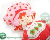 Vintage Strawberry Shortcake Pillow Doll 1980s Flat Sew and Stuff