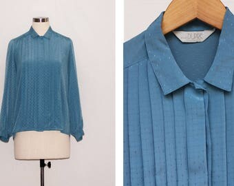 Vintage Duck Egg Blue Pleated Blouse