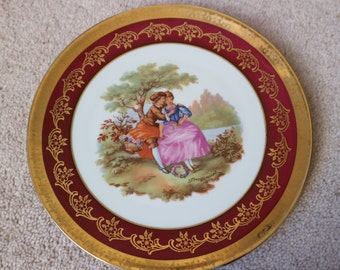 Limoge plate rural romantic scene red border