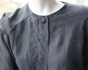 Two roads black vintage silk blouse chic understated