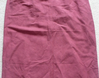Raspberry red linen cotton mix longjean style skirt uk16, us 14, eu 42