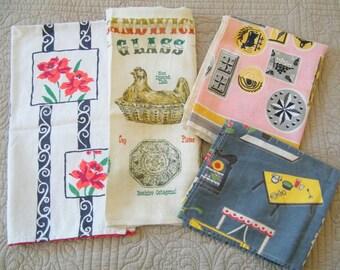 Lot of 4 Vintage Retro Mid Century Tea Towels Farmhouse Kitchen Decor Sewing Crafts Supplies