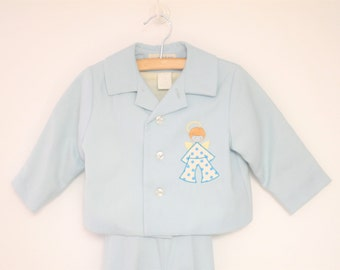 Vintage Baby Clothes, 1970's Saks Fifth Avenue Blue Wool Baby Boy Suit, Wool Baby Suit, Vintage Baby Suit, Blue Baby Suit, Size 2T-3T