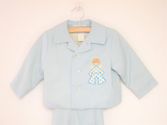 Vintage Baby Clothes 1970's Saks Fifth Avenue Blue Wool