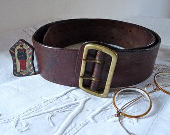 1900 Officer Belt French Antique belt - Men's Leather Belt - French Vintage Belt  For Men - Antique Officer belt - Mounted Police - hipster