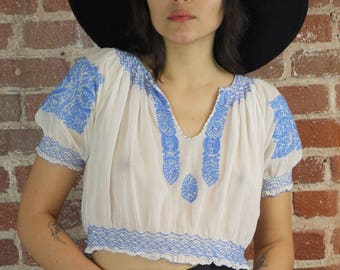 1930s Hand Embroidered Semi Sheer Cotton True Vintage Hungarian Blouse