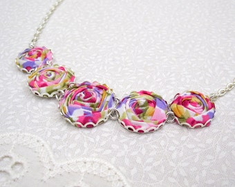 Fabric Flower Necklace - Roses in Lilac, Pink and Yellow - Spring Wedding