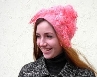 Cherry pink felted hat, casual winter wool felt hat, Women winter beanie, faerie fairy hat, eco faux fur curly locks
