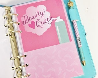 SALE Personal Size Beauty Queen Hair Spray Ombre Pint High Heels Beauty Makeup Laminated Dashboard Filofax Large Kikki k Planner