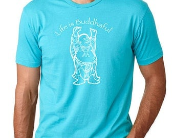 Yoga T-Shirt / Life is Buddhaful / Mens t-shirt / Buddha t-shirt / Life is Balance /yoga t shirt / yoga tshirt / Gift for him/ Gift for Yogi