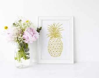 White and Gold Pineapple Art Print, art print, pineapple print, pineapple, ideal for pineapple lovers