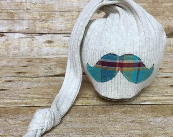 Newborn Upcycled Knot Hat, Plaid Mustache Night Cap, Newborn Photography Prop, Baby Boy, Ready To Ship, Baby Hat