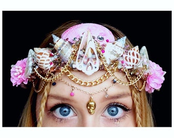 The pink LEMONADE Mermaid Flower Crown / headband / headdress with Swarovski crystal details