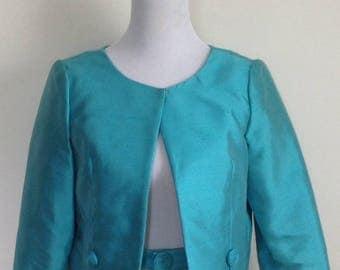 Raw silk jacket turquoise