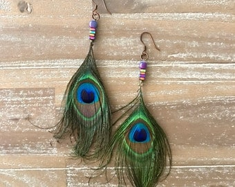 Peacock Earrings with Iridescent Puprle Beads - Hypoallergenic Peacock Feather Earrings - Peacock Rainbow Earrings