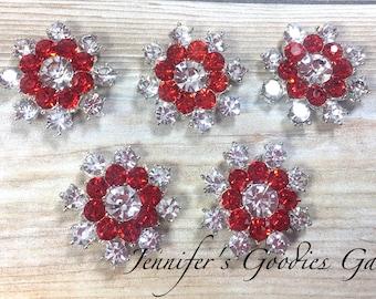 24mm, Red Snowflake, Rhinestone Snowflake Embellishment, Christmas Button, Hair Flower Center, Snowflake Button, Rhinestone Flat Backs, 5PC
