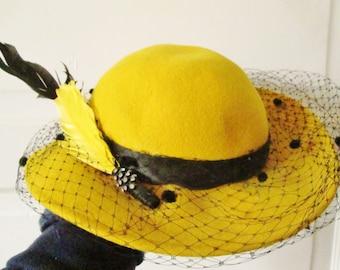 Flirty Vintage Michael Howard Wool Felt Hat with Black Veil and Feathers