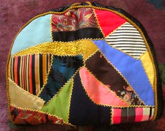 Exquisite Vintage Crazy Quilt Tea Cosy, Hand Embroidered, Teapot Cover