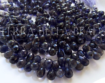 "4"" strand IOLITE faceted gem stone teardrop briolette beads 8mm - 9mm WATER SAPPHIRE"