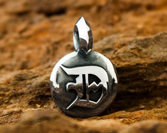 """Handmade Solid 925 Sterling Silver Dogstone Seal Pendant or Reversible Charm with a Raised Letter """"D"""""""
