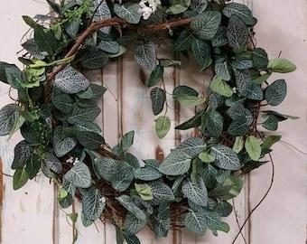 Front door wreath, Greenery Wreath - Wreath Great for All Year Round - Everyday Burlap Wreath, Door Wreath, Front Door Wreath