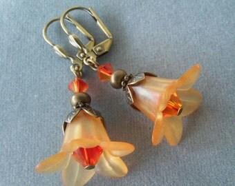 Orange Lucite Flower and Swarovski Crystal Earrings