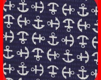 Cotton Fabric SEERSUCKER Navy White Anchors, Beach Clothes, Quilts, Navy FAT Quarter