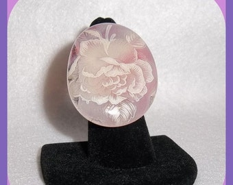 Large Fused Glass RING, White Pink Rose Flower Surface, Bridal, Wedding, Feminine