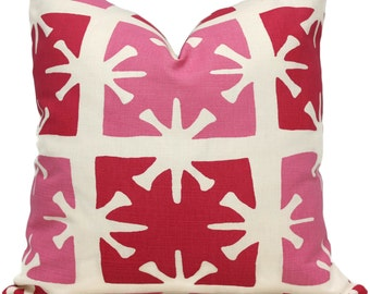 Pink Georgia Quadrille Pillow Cover, As seen in HGTV magazine, Accent Pillow, Throw Pillow, Toss, China Seas