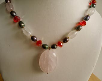 Pearl Necklace, Ladies Pearl, Crystal and Agate Choker, 19 inch