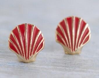 Red Sea Shells Earrings - Vintage Stud Earrings