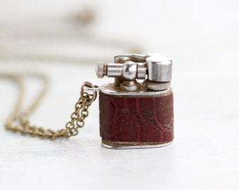 Tiny Lighter Necklace - Miniature Pendant on Long Chain - Signed Willow