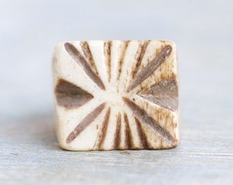 Carved Bone Signet Ring - Primitive Natural Jewelry - Quare Ring Size 11 - Boho Statement Ring