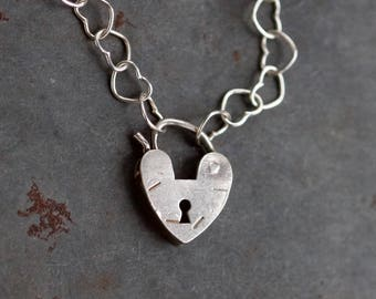 Heart Padlock Necklace - Sterling Silver Punk Short Necklace - Lock Pendant on Chain of Heart Shaped Hoops