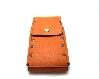 Orange is the new black  Sleeve wallet from orange genuine leather iPhone models cell phone case with pocket card ID free initials belt loop