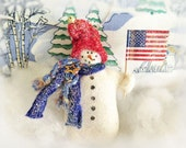 Snowman Ornament Patriotic Snowman with USA Flag Winter Snowman, Christmas Ornament Handmade CharlotteStyle DecorativeFolk Art