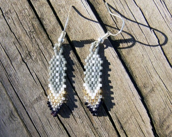Handmade beaded feather earrings