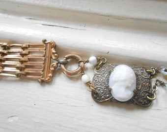 Antique Cameo Watch Fob Bracelet, Assemblage Jewelry, Victorian, Gold Filled, Mother of Pearl Rosary, Repurposed Vintage, Upcycled, Recycled