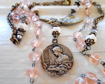 Antique French Medal Necklace, Assemblage Jewelry, Swallow Bird, Antique Rose Pink Rosary, Sterling Silver Music Medal, Repurposed, Upcycled